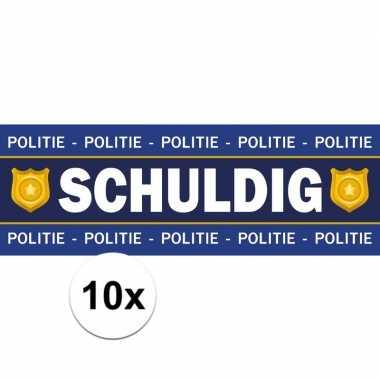 10 x schuldig stickers voor politie/agent carnavalskleding