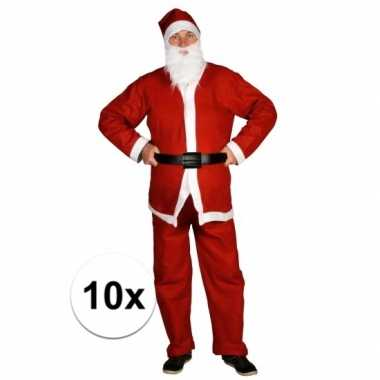 10x voordelige santa run kerstman carnavalskleding voor volwassenen