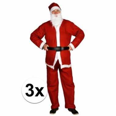 3x voordelige santa run kerstman carnavalskleding voor volwassenen