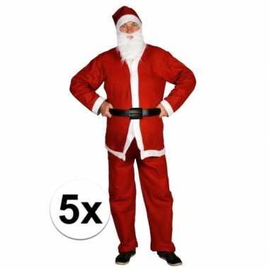 5x voordelige santa run kerstman carnavalskleding voor volwassenen