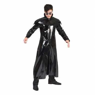 90s carnavalskleding gothic lakleren jas voor volwassenen