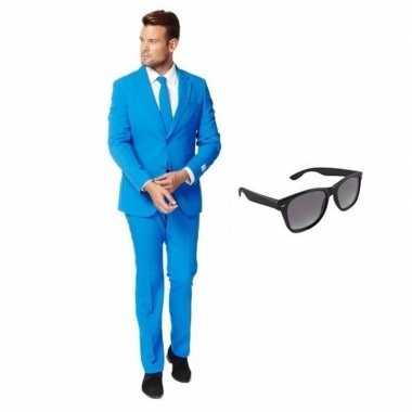 Blauw heren carnavalskleding maat 52 (xl) met gratis zonnebril