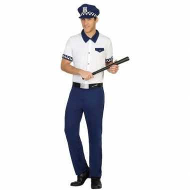 Blauw/wit politie pak/carnavalskleding voor heren