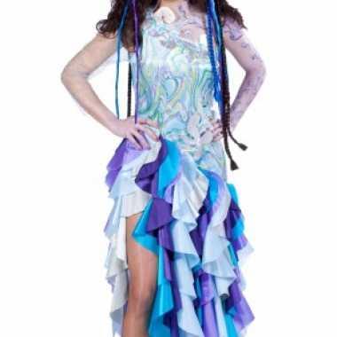 Blauwe prinses van de zee carnavalskleding