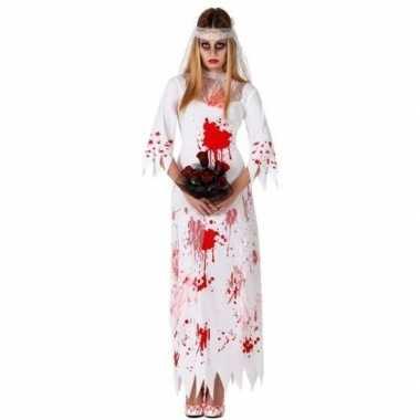 Bloederige zombie/spook bruid carnavalskleding voor dames