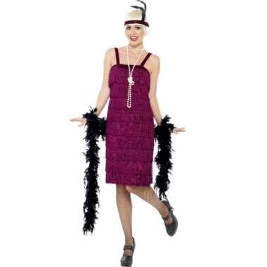 Bordeaux rood flapper jurkje carnavalskleding voor dames