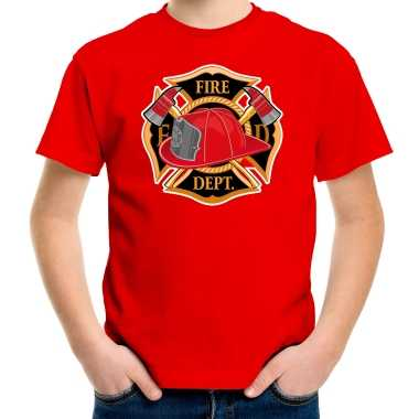 Brandweer logo t shirt / carnavalskleding rood voor kinderen
