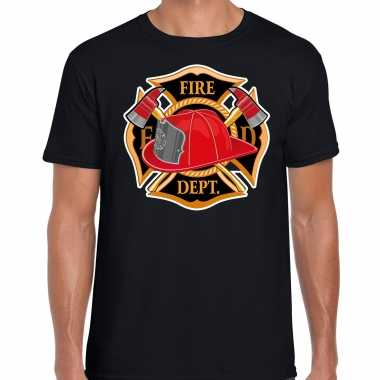Brandweer logo t shirt / carnavalskleding zwart voor heren