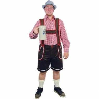 Bruine lederhosen carnavalskleding/broek voor heren