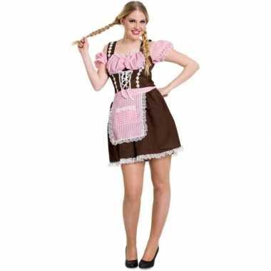 Bruine/roze dirndl carnavalskleding/jurkje voor dames