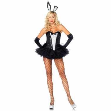 Bunny carnavalskleding zwart wit voor dames