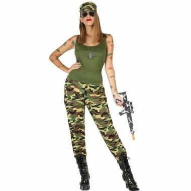 Camouflage soldaat pak/carnavalskleding voor dames