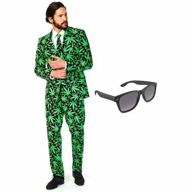 Cannabis print heren carnavalskleding maat 56 xxxl met gratis zonnebril