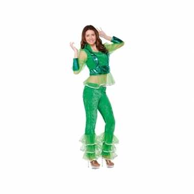 Carnavalskleding disco groen voor dames