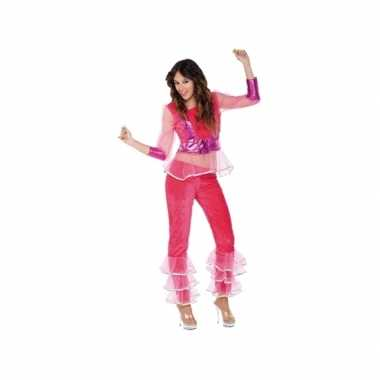 Carnavalskleding disco roze voor dames