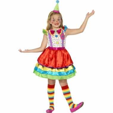 Carnavalskleding gekleurd clown jurkje