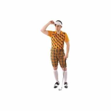 Carnavalskleding golfer oranje voor heren