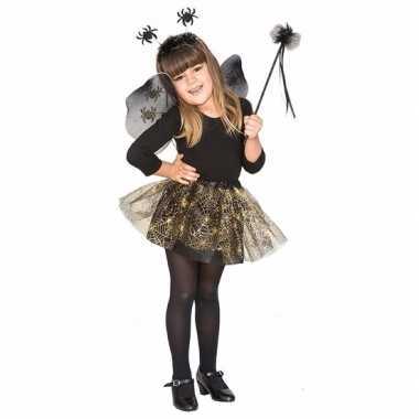 Carnavalskleding heksenset zwarte spin voor meisjes