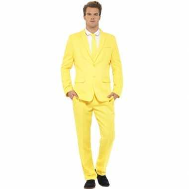 Carnavalskleding heren maatpak geel