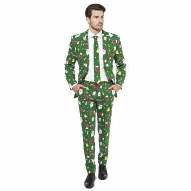 Carnavalskleding kerstmis print groen