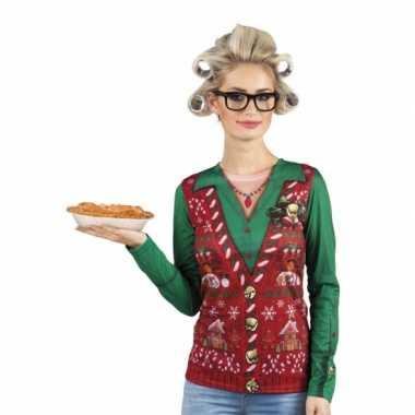 Carnavalskleding kerstprint dames shirt