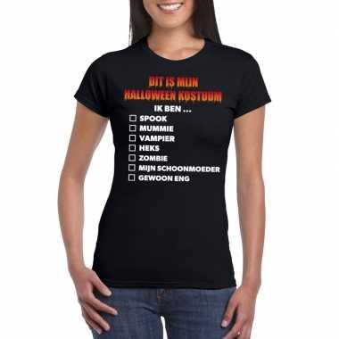 Carnavalskleding lijstje t shirt zwart dames