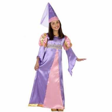 Carnavalskleding middeleeuws paarse prinses jurkje