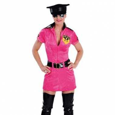 Carnavalskleding roze politie pakje