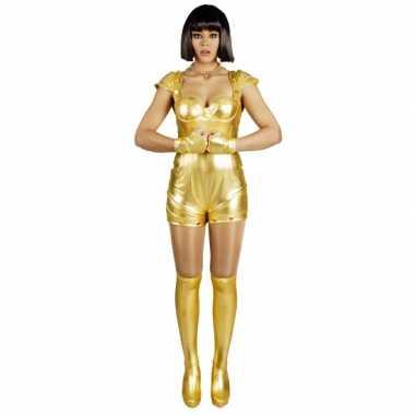 Carnavalskleding spacegirl goud voor dames