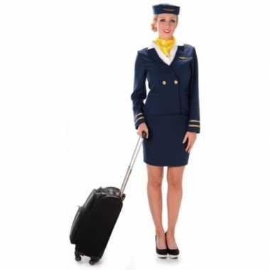 Carnavalskleding stewardess blauw