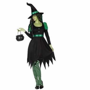 Carnavalskleding zwarte heks 2 delig