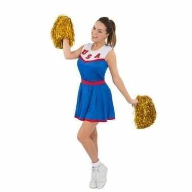 Cheerleaders carnavalskleding met pom poms voor dames
