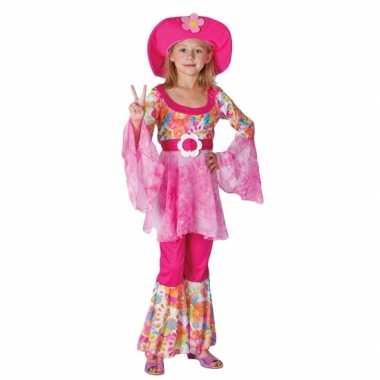 Complete roze hippie carnavalskleding voor meiden