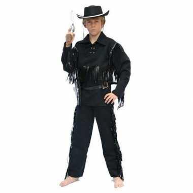 Cowboy carnavalskleding zwart voor kinderen