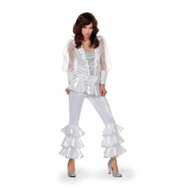Dames disco carnavalskleding wit/zilver