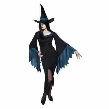 Dames heksen carnavalskleding zwart met blauw