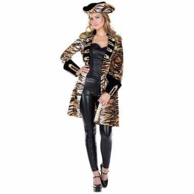 Dames tijgerprint carnavalskleding jas