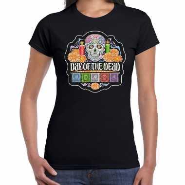Day of the dead / dag van de doden t shirt / carnavalskleding zwart voor dames