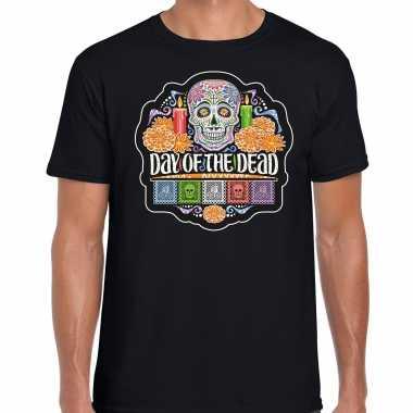 Day of the dead / dag van de doden t shirt / carnavalskleding zwart voor heren