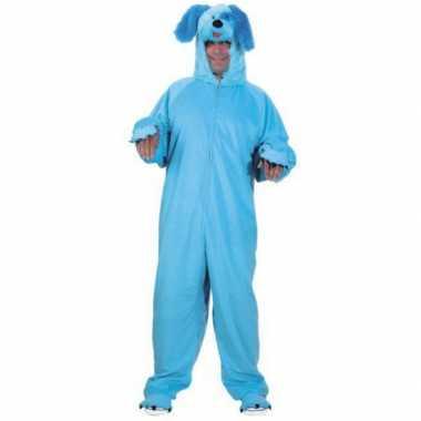 Dieren carnavalskleding blauwe hond voor volwassenen
