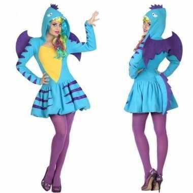 Dierenpak blauwe draak carnavalskleding/jurk voor dames