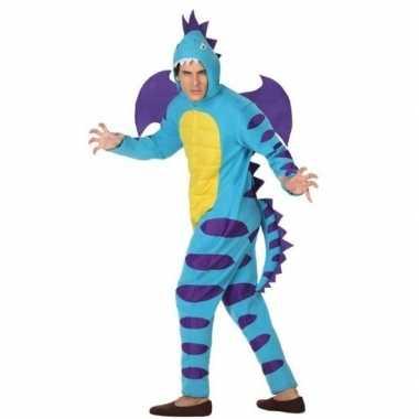Dierenpak blauwe draak carnavalskleding voor volwassenen