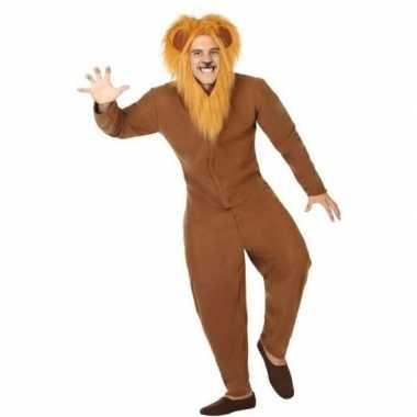Dierenpak carnavalskleding bruine leeuw voor volwassenen