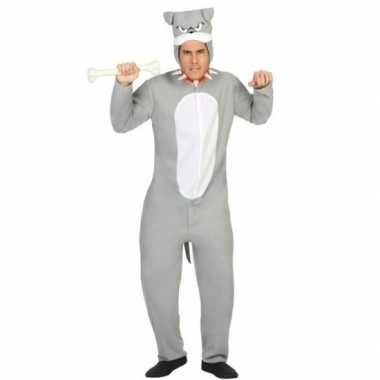 Dierenpak pit bull hond carnavalskleding grijs voor volwassenen