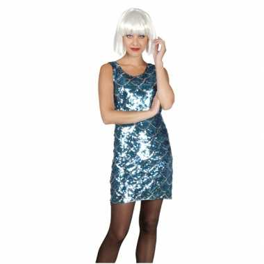Disco carnavalskleding blauw en zilver met pailletten