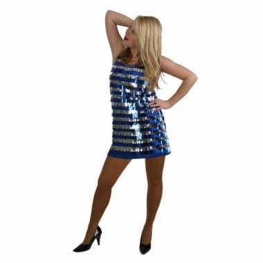 Disco carnavalskleding kort blauw en zilver met pailletten