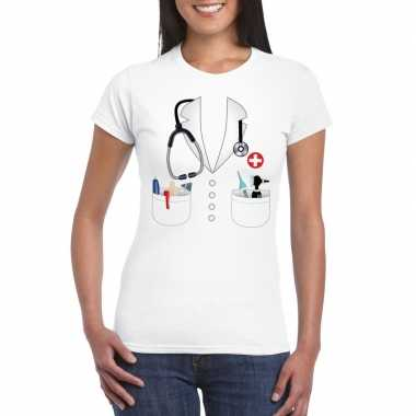 Doktersjas carnavalskleding t shirt wit voor dames