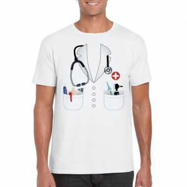 Doktersjas carnavalskleding t shirt wit voor heren