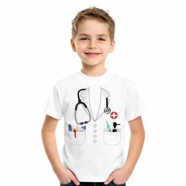 Doktersjas carnavalskleding t shirt wit voor kinderen