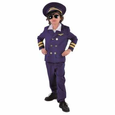 Donkerblauw piloten carnavalskleding voor kids